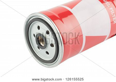 Red fuel filter for diesel engine isolated on white background