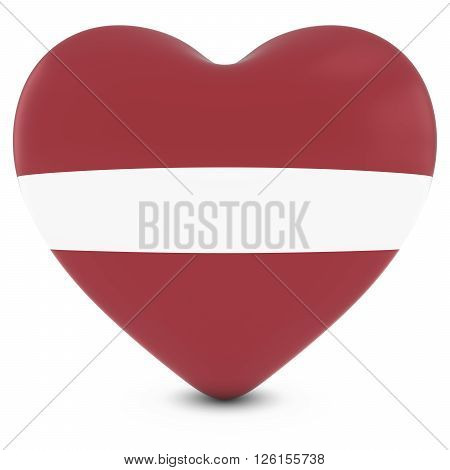 Love Latvia Concept Image - Heart Textured With Latvian Flag