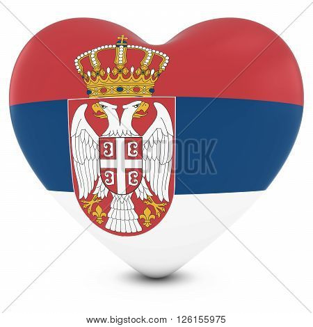 Love Serbia Concept Image - Heart Textured With Serbian Flag