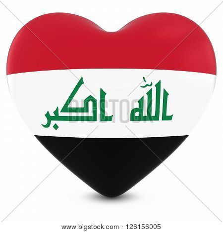 Love Iraq Concept Image - Heart Textured With Iraqi Flag