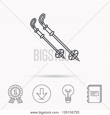 Skiing icon. Ski sticks or poles sign. Winter sport symbol. Download arrow, lamp, learn book and award medal icons.