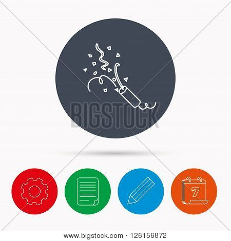 Shooting slapstick icon. Celebration sign. Calendar, cogwheel, document file and pencil icons.
