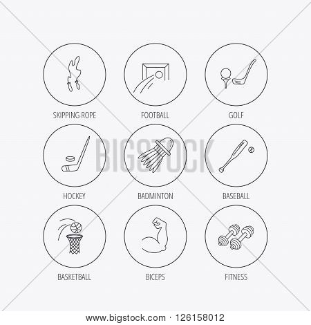 Skipping rope, football and golf icons. Hockey, baseball and badminton linear signs. Basketball, biceps and fitness sport icons. Linear colored in circle edge icons.