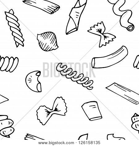 Italian Pasta seamless pattern vector sketches. Hand drawn Pasta Vector illustration. Set of elements italian Pasta for design.