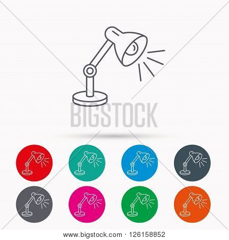 Table lamp icon. Desk light sign. Linear icons in circles on white background.