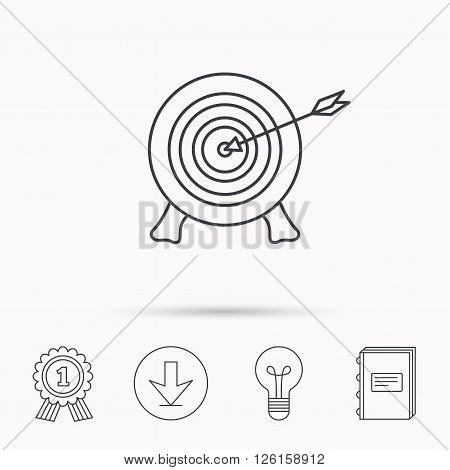 Target with arrow icon. Archery aiming sign. Professional shooter sport symbol. Download arrow, lamp, learn book and award medal icons.