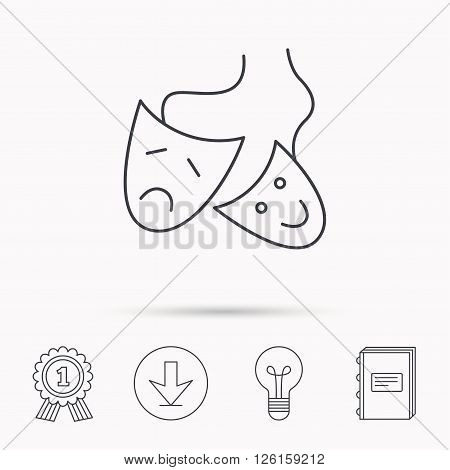 Theater masks icon. Drama and comedy sign. Masquerade or carnival symbol. Download arrow, lamp, learn book and award medal icons.