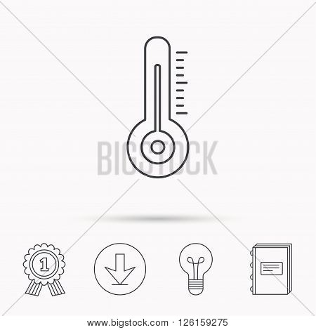 Thermometer icon. Weather temperature sign. Meteorology symbol. Download arrow, lamp, learn book and award medal icons.
