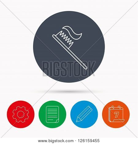 Toothbrush icon. Toothpaste sign. Dental oral cleaning symbol. Calendar, cogwheel, document file and pencil icons.
