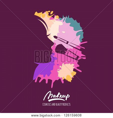 Vector Logo With Female Face And Makeup Brushes On Watercolor Splash Background.