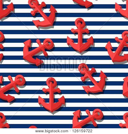 Vector Seamless Pattern With 3D Stylized Red Anchors And Blue Navy Stripes.