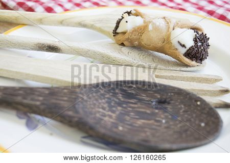sicilian cannolo filled with cream of fresh sheep's-milk ricotta and chocolate