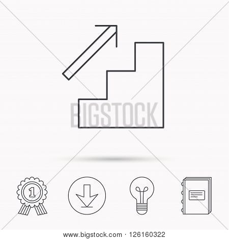 Upstairs icon. Direction arrow sign. Download arrow, lamp, learn book and award medal icons.