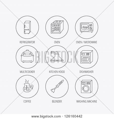 Microwave oven, washing machine and blender icons. Refrigerator fridge, dishwasher and multicooker linear signs. Coffee icon. Linear colored in circle edge icons.