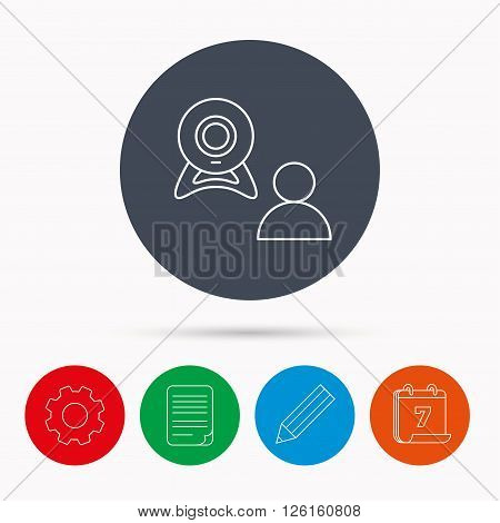 Video chat icon. Webcam chatting sign. Web conference symbol. Calendar, cogwheel, document file and pencil icons.