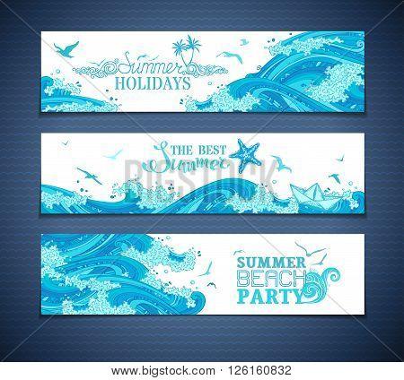 Vector Set Of Sea/ocean Horizontal Banners.