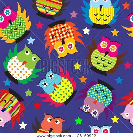 Owls in the nighttime seamless background for kids