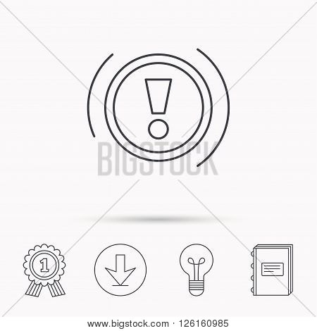 Warning icon. Dashboard attention sign. Caution exclamation mark symbol. Download arrow, lamp, learn book and award medal icons.