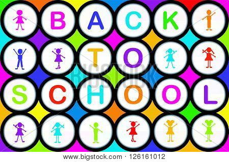 BACK TO SCHOOL colorful background with round shapes and cartoon kids
