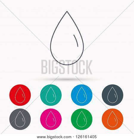 Water drop icon. Liquid sign. Freshness, condensation or washing symbol. Linear icons in circles on white background.