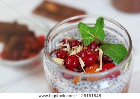 Chocolate chia seed pudding with cranberry and crushed almonds, close up