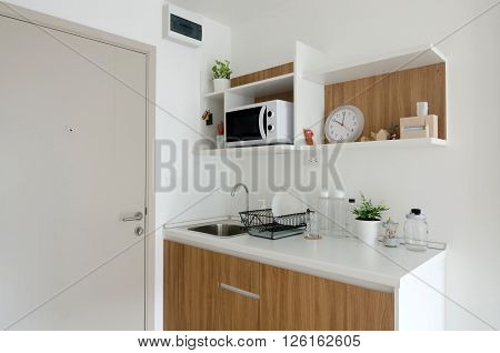 Beautiful pantry with utensil in modern apartment