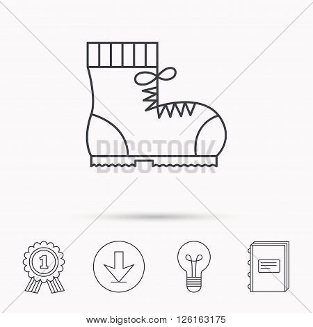 Boot icon. Hiking or work shoe sign. Military footwear symbol. Download arrow, lamp, learn book and award medal icons.
