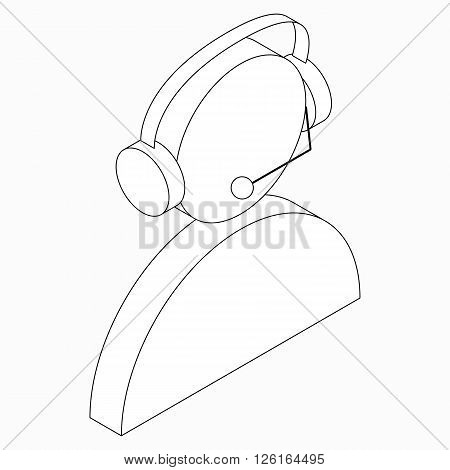 Operator in headset icon in isometric 3d style isolated on white background