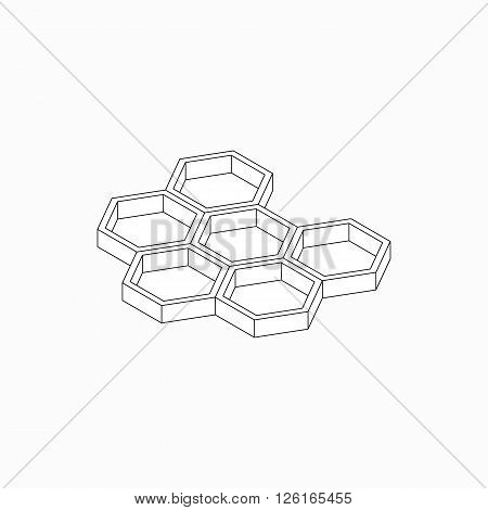 Honey cells icon in isometric 3d style isolated on white background