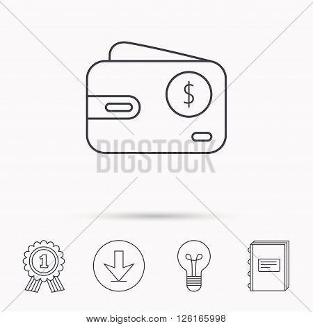 Dollar wallet icon. USD cash money bag sign. Download arrow, lamp, learn book and award medal icons.