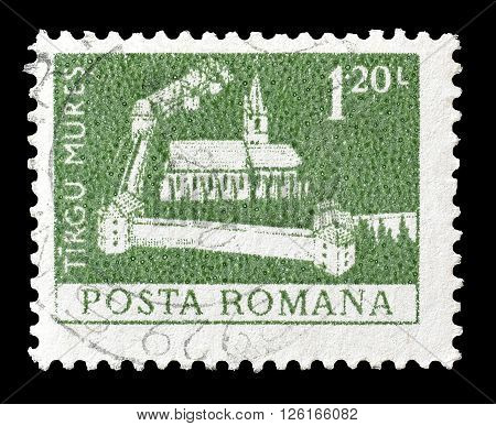 ROMANIA - CIRCA 1973 : Cancelled postage stamp printed by Romania, that shows Tirgu Mures.