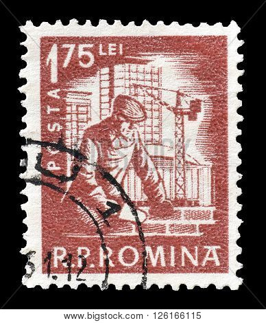 ROMANIA - CIRCA 1960 : Cancelled postage stamp printed by Romania, that shows Bricklayer.