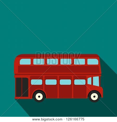 London double decker red bus icon in flat style on a blue background
