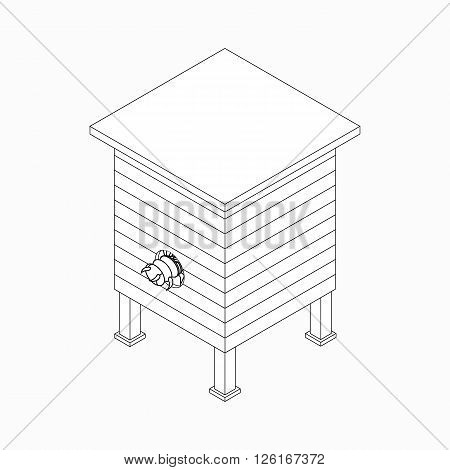 Beehive with bee icon in isometric 3d style isolated on white background