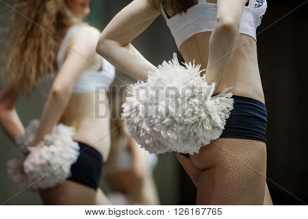 group of girls cheerleaders performance at competitions