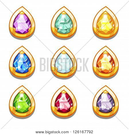 Vector colorful golden amulets with diamondsVector colorful golden amulets with diamonds, droplets form