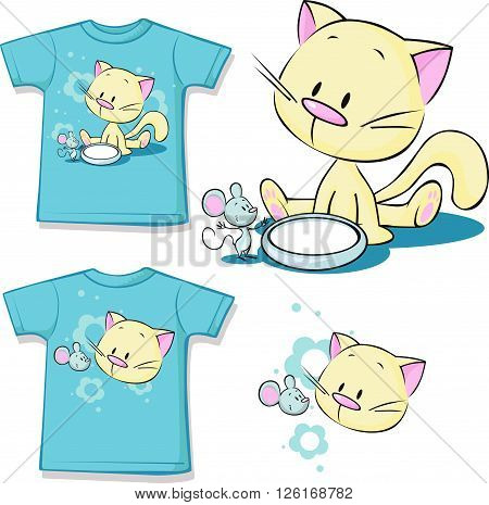 shirt printed - Cute kitten sitting next to dishes of milk watches mouse