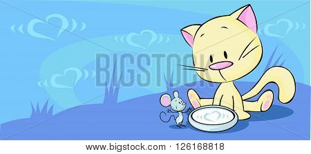 kitten sitting in a bowl with milk and mouse looking at him - vector illustration