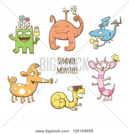 Cartoon summer monsters set. Summer food and drink. Vector image. Children's illustration. Cute monsters collection.