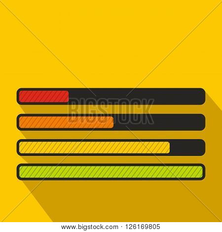 Progress loading bar icon in flat style on a yellow background