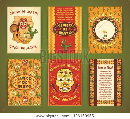 Cinco de Mayo. Big set of vector templates with traditional Mexican symbols. Format A4.