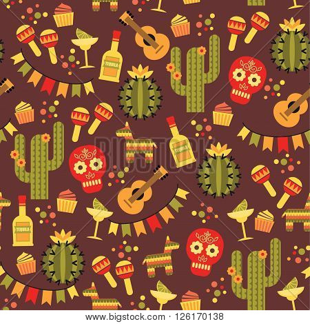 Vector seamless pattern with traditional Mexican symbols. Cinco de Mayo. Let 's Fiesta!