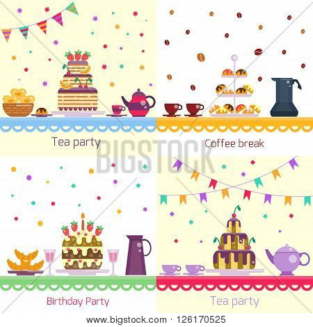 Birthday party. Festive celebration table. Cake and drinks, sweets and dessert, teapot and cups on the table. children's party. Event day. Birthday food