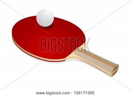 Red ping-pong rackets and white ball on white background