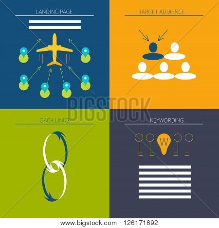 Web and SEO optimization icon set made in flat style. Perfect for digital marketing web and graphic design. Vector illustration.