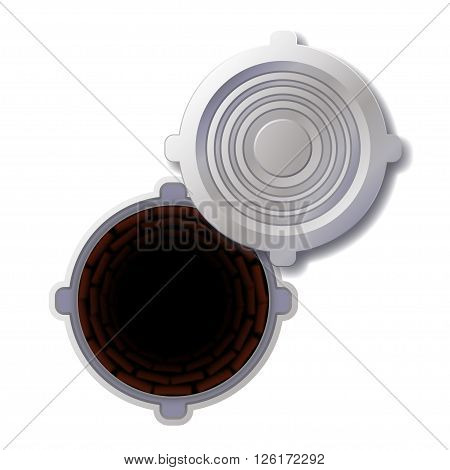illustration of openned steel grey color hatch on white background