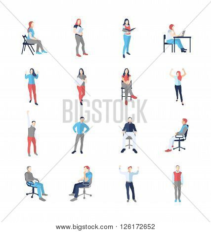 People, male, female, in different casual common poses - modern vector flat design isolated icons set. Standing, sitting, holding book, delight, success, at the computer