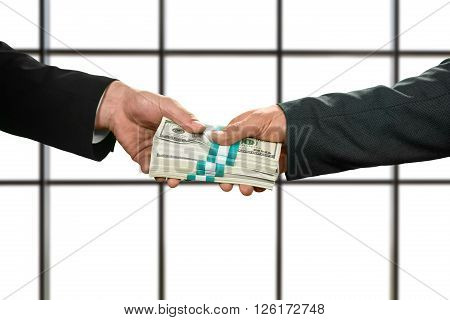 Businessman taking bundles of cash. Big money on white background. More than grateful. Working for insurance company.
