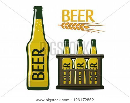 vector beer set of beer bottle box and logo with ear of wheat