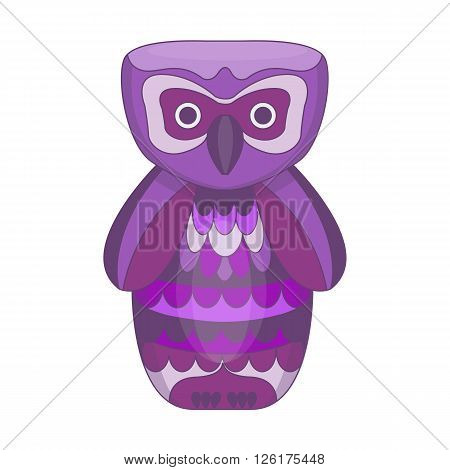 Cartoon owl. Vector illustration of fantasy owl. Bird for print, poster. Isolated